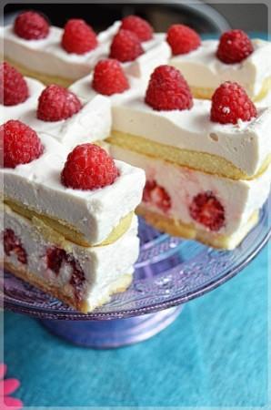 Ciasto z malinami bez pieczenia na biszkoptach
